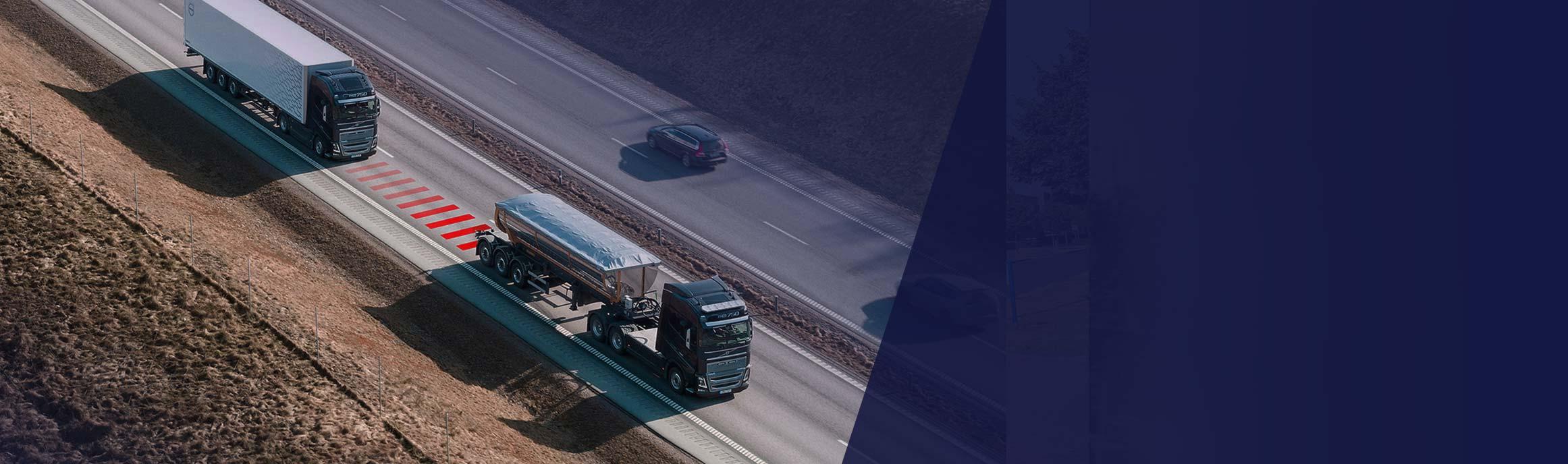 Veiligheidsoplossing Volvo trucks helpt afstand te houden