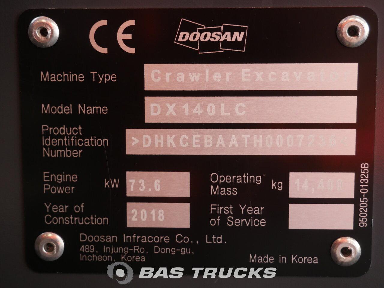 For sale at BAS Trucks: Doosan DX 140 LC Track 01/2018