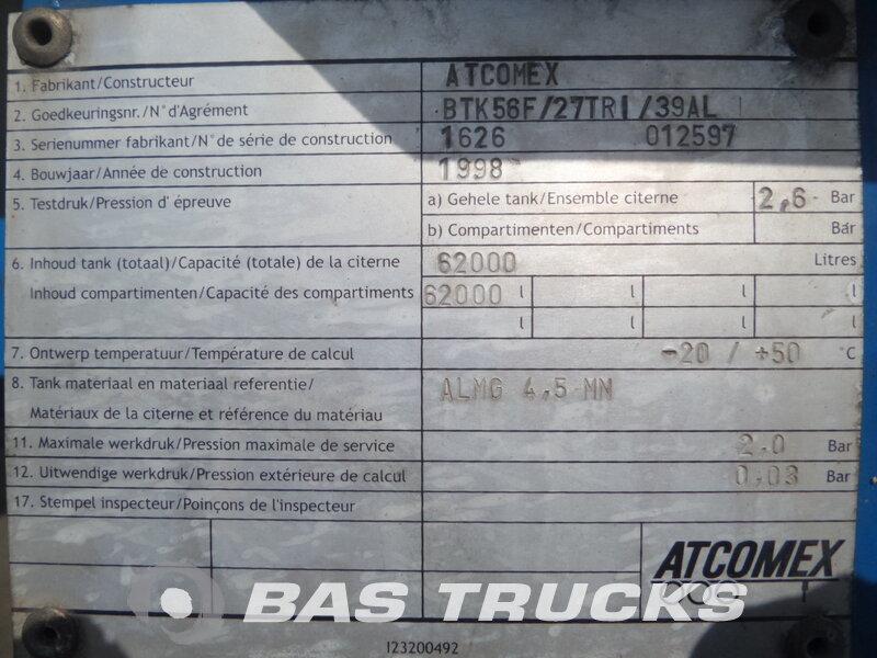 photo de Occasion  Semi-remorques Atcomex 62.000 Ltr / 1 / Kippanlage / BTK56F-27TRI-39AL 3 Essieux 1998